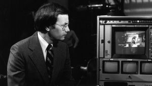 Bill Moyers editing on set in the 1970s.