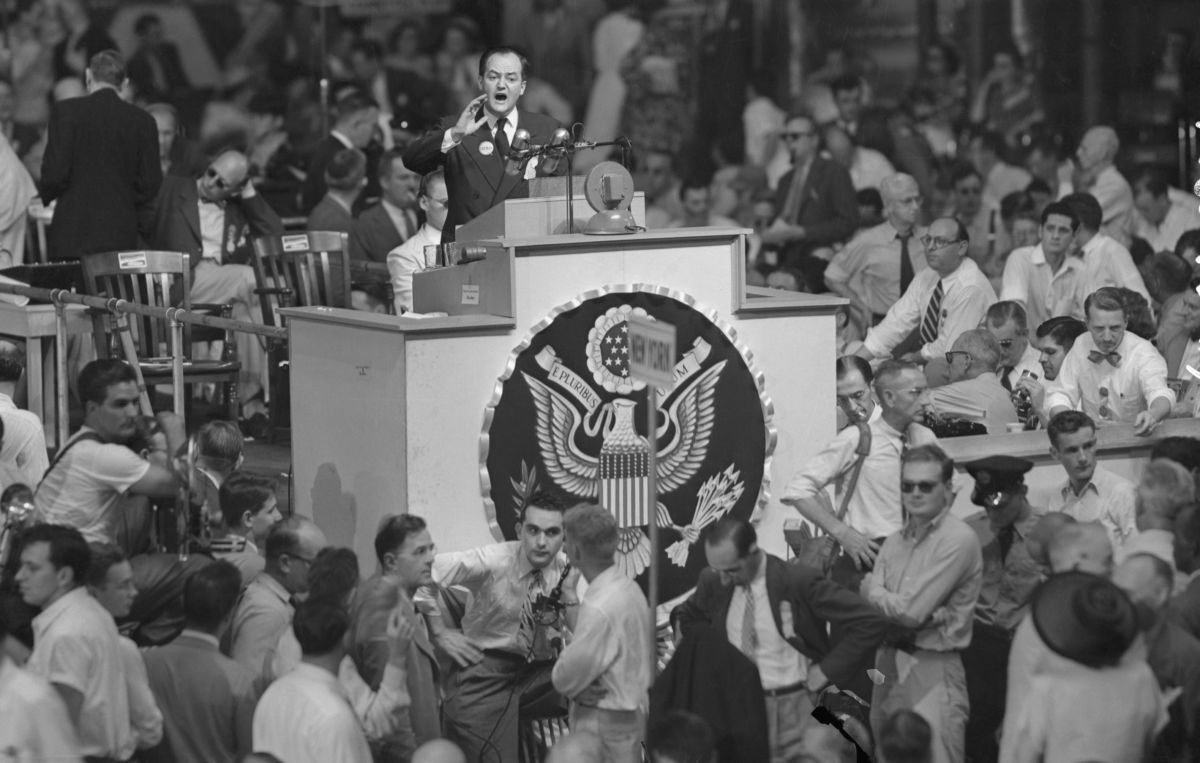Mayor of Minneapolis Hubert H. Humphrey (above) addressing the Democratic National Convention. Humphrey submitted a minority report urging the adoption of the civil rights plank in the Democratic platform.