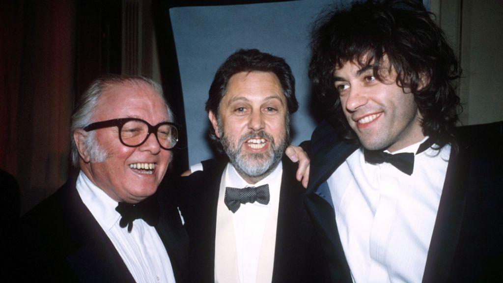 Sir Richard Attenborough, David Puttnam and Bob Geldof at the BAFTA Film Awards in London, 1988 (Rex Features via AP Images)