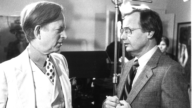 Author Tom Wolfe with Bill Moyers on the set of World of Ideas (Photo credit: Don Perdue)