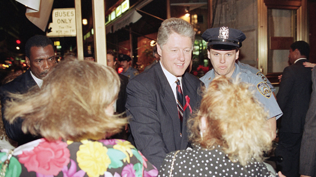 Bill Clinton shaking hands with supporters as he arrives at the Hotel Inter-Continental in New York. (AP Photo/Charles Rex Arbogast, file 1992)