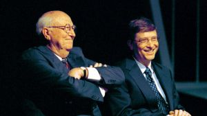 William H. Gates, Sr. and his son Bill Gates, chairman and chief software architect of Microsoft, are introduced during a lecture at the University of Washington in Seattle Friday, May 4, 2001. The lecture followed a groundbreaking for the university's new law school facility, William H. Gates Hall, named after the senior Gates, a school alumnus. (AP Photo/Andy Rogers)