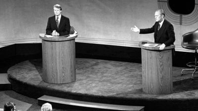 Carter and Ford debate domestic policy at the Walnut Street Theatre in Philadelphia (September 23, 1976).