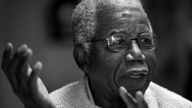 Chinua Achebe, Nigerian-born novelist and poet speaks about his works and his life at his home on the campus of Bard College in Annandale-on-Hudson, New York. January 2008. (AP Photo/Craig Ruttle)