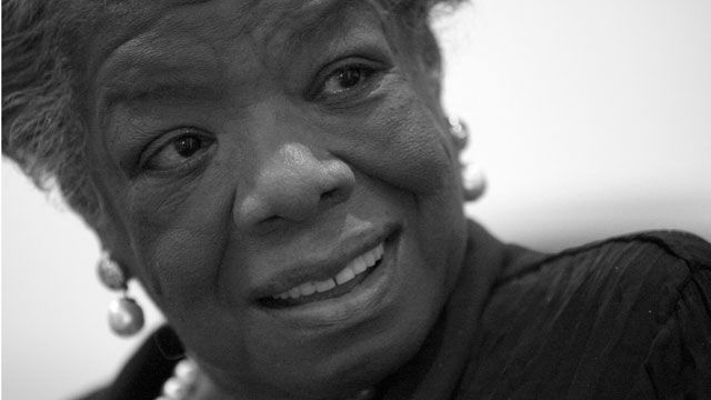 Maya Angelou smiles during an interview with the Associated Press in New York. March 2008. (AP Photo/Mary Altaffer)