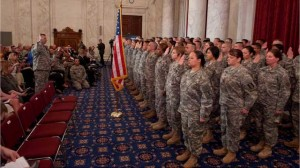 Lt. Gen. Jack C. Stultz, Chief U.S. Army Reserve reenlists 60 soldiers at the U.S. Army Reserve National Capitol Reenlistment ceremony today, April 23, 2010 on Capitol Hill in Washington, DC. (PRNewsFoto/U.S. Army Reserve)