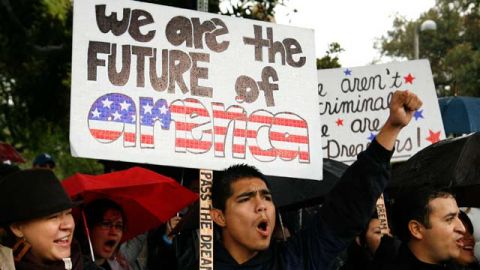 Undocumented college student Jorge Herrera, 18 of Carson, Calif.,rallies with students and Dream Act supporters in Los Angeles. December 2010 (AP Photo/Jason Redmond)