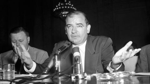 Senator Joseph McCarthy resumes his testimony before the Senate Investigations subcommittee as the group's probe of the Senator's dispute with the Army heads into the home stretch. June 1954. (AP Photo)