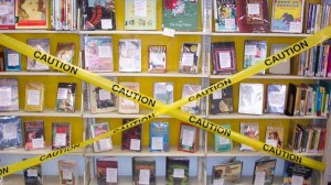 A display of challenged or banned books in the Youth Services department at the Lansing Public Library in Lansing, Ill.