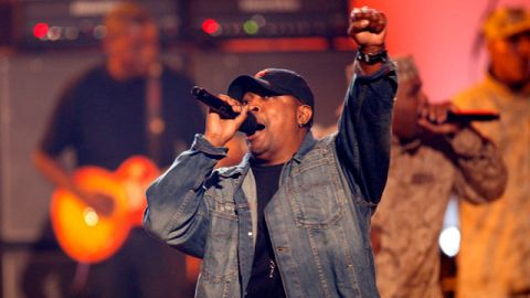 Chuck D , from the group Public Enemy, performs at the BET Awards in Los Angeles. June 2007. (AP Photo/Kevork Djansezian)