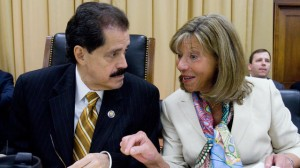 Subcommittee Chairman Jose Serrano, D-N.Y., and Ranking Member Jo Ann Emerson, R-Mo., confer on Capitol Hill in 2010. (AP Photo/Harry Hamburg)