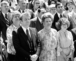"""Rev. Jerry Falwell and Phillis Schlafly sing patriotic songs during a """"Stop the ERA"""" rally in 1980. (AP Photo)"""