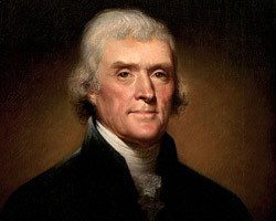 Portrait of Thomas Jefferson by Rembrandt Peale in 1800. Credit: White House Historical Association