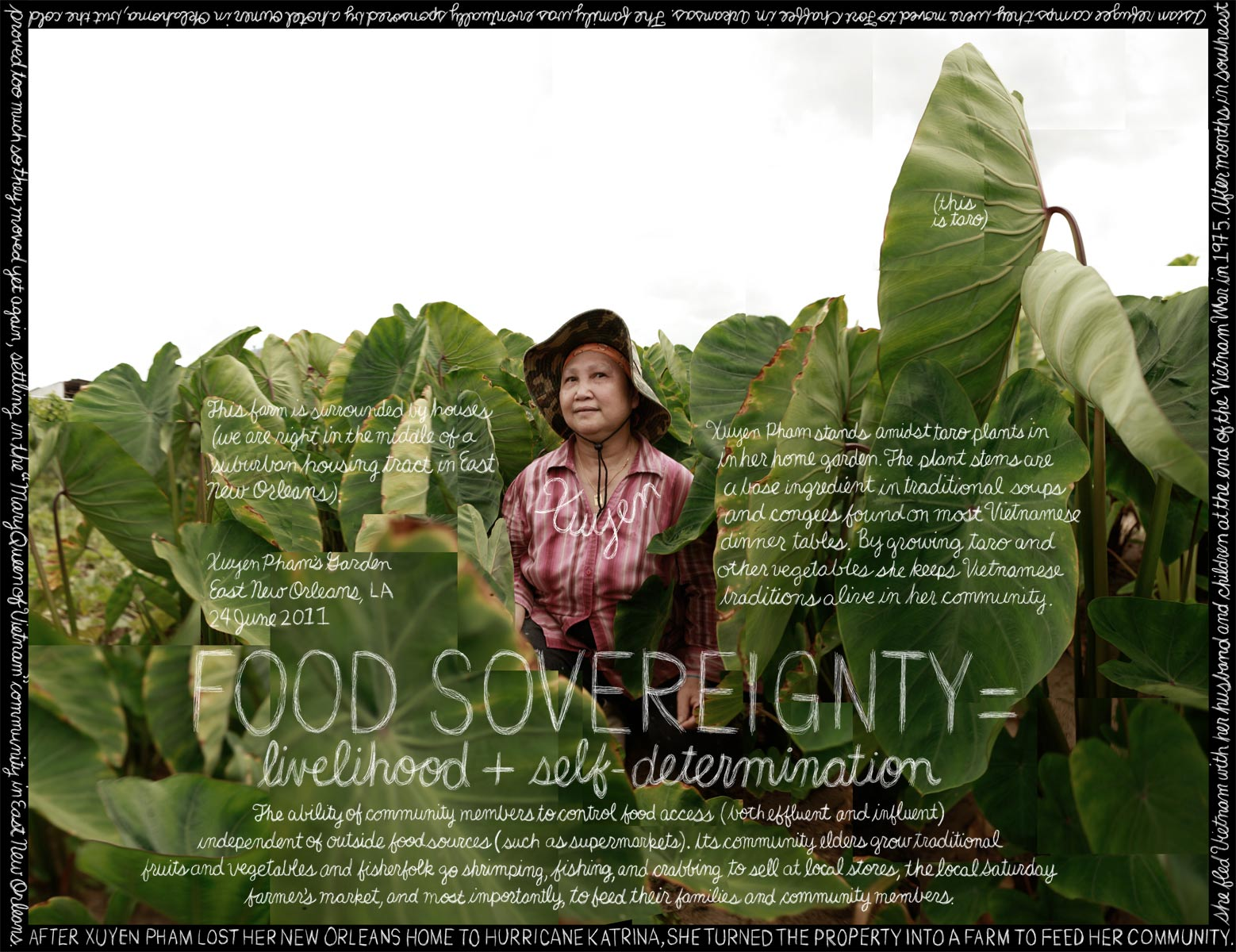 """""""Food Sovereignty"""" Xuyen Pham, MQVN CDC. New Orleans, LA. Credit: Information artwork by Douglas Gayeton. From the Lexicon of Sustainability project."""