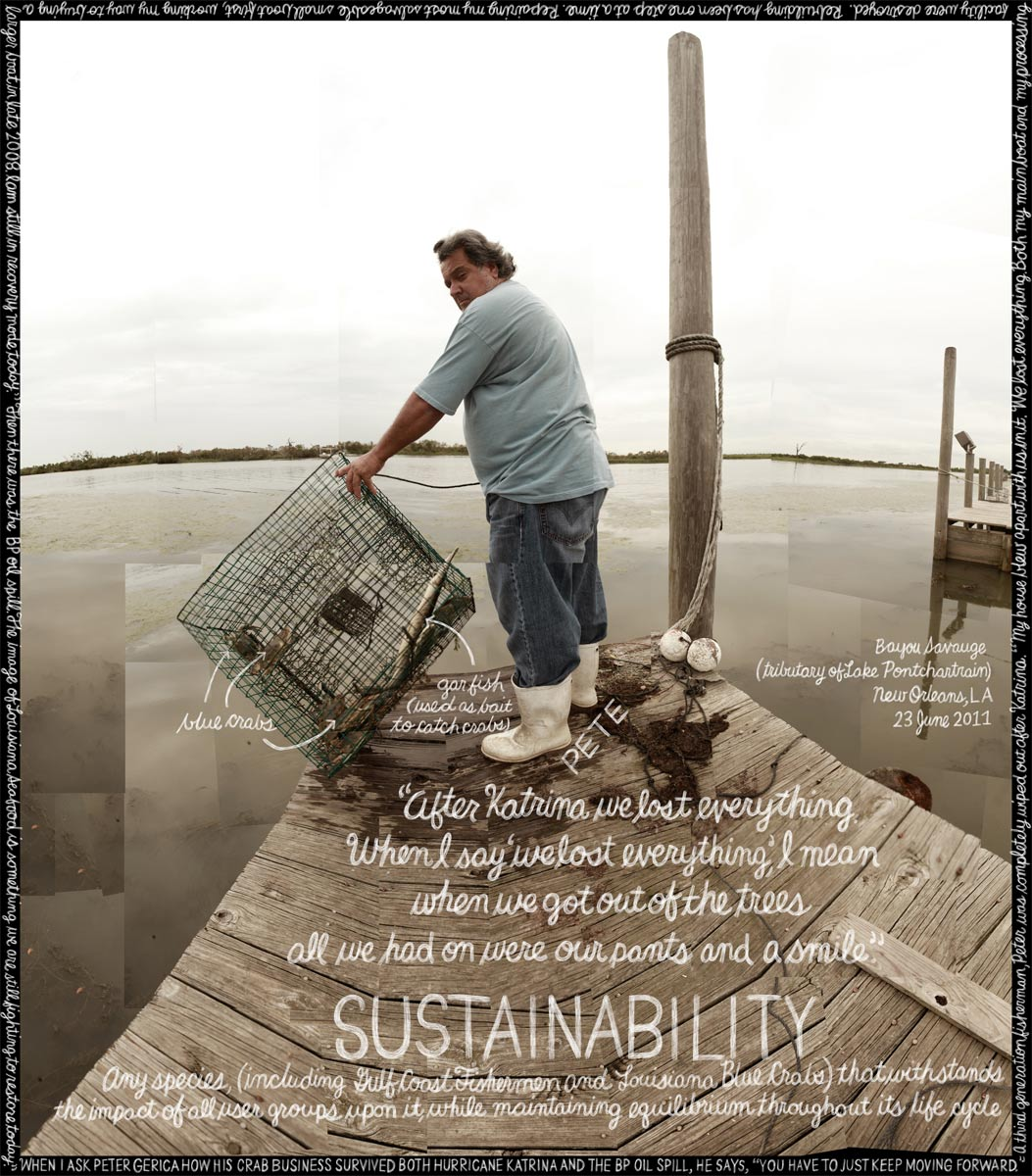'Sustainability' Peter Gerica. New Orleans, LA. Credit: Information artwork by Douglas Gayeton. From the Lexicon of Sustainability project.