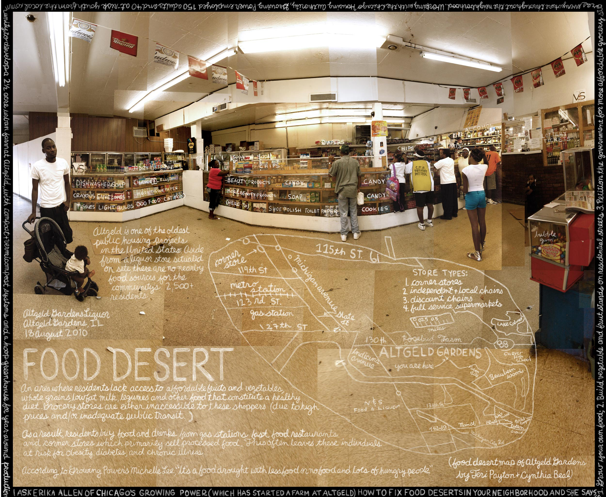 'Food Desert' Altgeld Gardens Liquors, Altgeld Gardens, IL. Credit: Information artwork by Douglas Gayeton. From the Lexicon of Sustainability project.