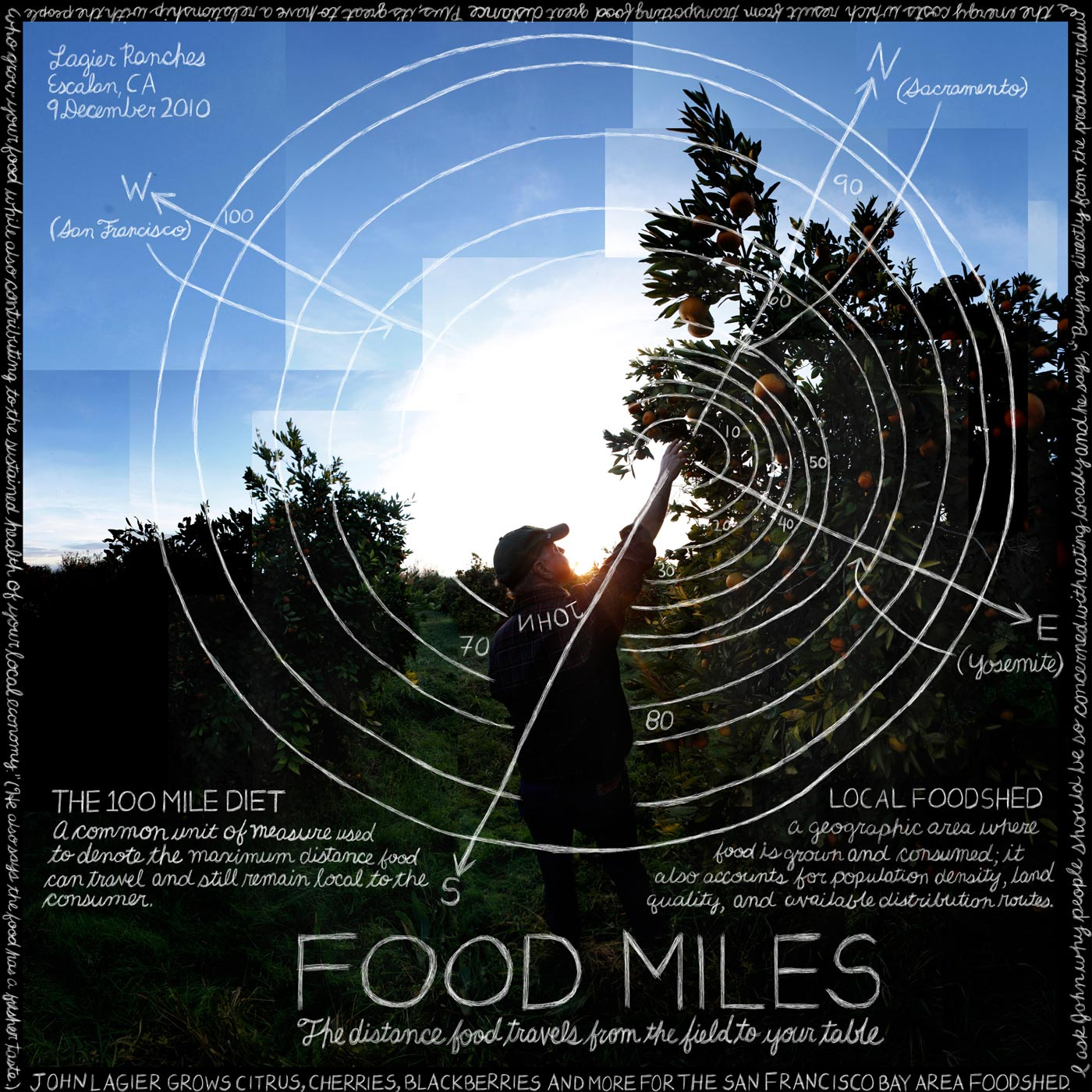 """""""Food Miles"""" John Lagier, Lagier Ranches. Escalon, CA. Credit: Information artwork by Douglas Gayeton. From the Lexicon of Sustainability project."""