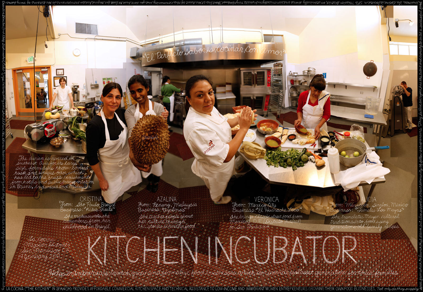 """""""Kitchen Incubator"""". Caleb Zigas, La Cocina. San Francisco, CA. Credit: Information artwork by Douglas Gayeton. From the Lexicon of Sustainability project."""
