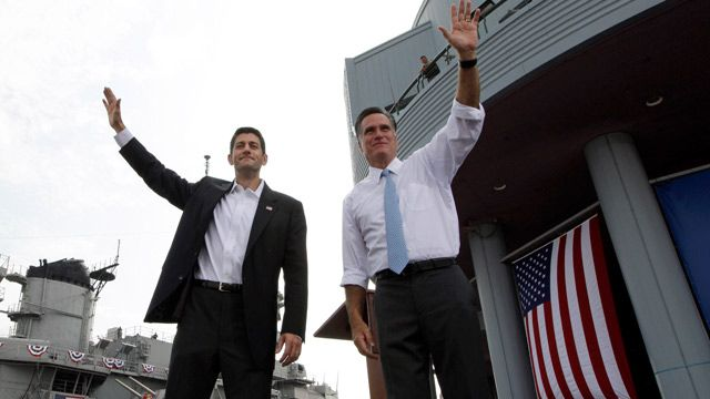 Republican presidential candidate, former Massachusetts Gov. Mitt Romney and vice presidential candidate Wisconsin Rep. Paul Ryan, R-Wis., wave at the crowd during a campaign event in Norfolk, Va. August 2012. (AP Photo/Mary Altaffer)