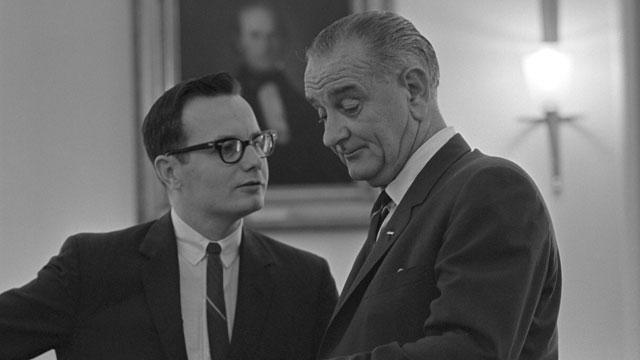 Bill Moyers and President Lyndon B. Johnson.