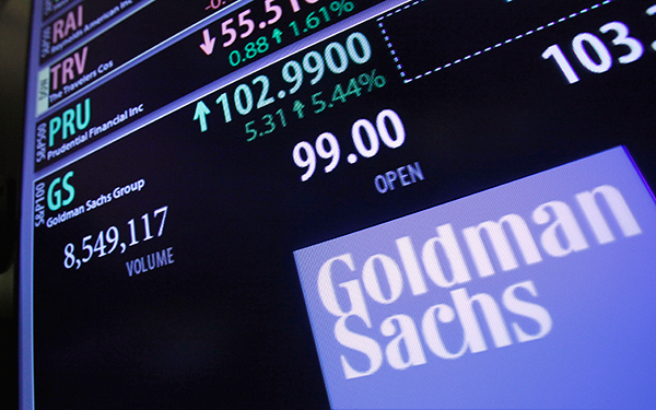 The price of Goldman Sachs stock is shown at a trading post on the floor of the New York Stock Exchange. January 2012. (AP Photo/Richard Drew)