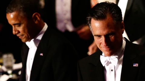 Republican presidential candidate and former Massachusetts Gov. Mitt Romney and President Barack Obama attend the 67th annual Alfred E. Smith Memorial Foundation Dinner, a charity gala organized by the Archdiocese of New York at the Waldorf Astoria hotel in New York. October 2012. (AP Photo/Charles Dharapak)