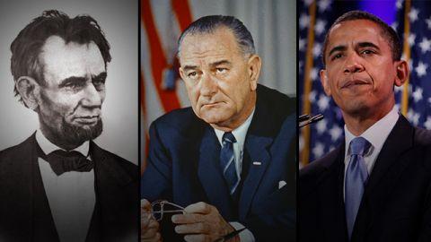 Lincoln, LBJ, Obama composite
