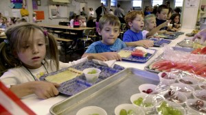 Students line up to be served lunch at the Thatcher Brook Elementary School in Waterbury, Vt. (AP Photo/Toby Talbot)
