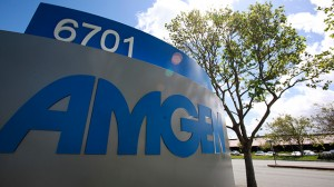 The exterior view of Amgen Inc. offices is shown in Fremont, Calif., Tuesday, April 20, 2010. (AP Photo/Paul Sakuma)