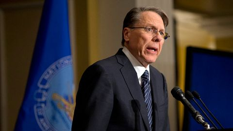 In this file photo The National Rifle Association executive vice president Wayne LaPierre, speaks during a news conference in response to the Connecticut school shooting. Friday, Dec. 21, 2012. (AP Photo/Evan Vucci)