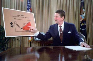 Ronald Reagan gives a televised address from the Oval Office, outlining his plan for Tax Reduction Legislation in July 1981.
