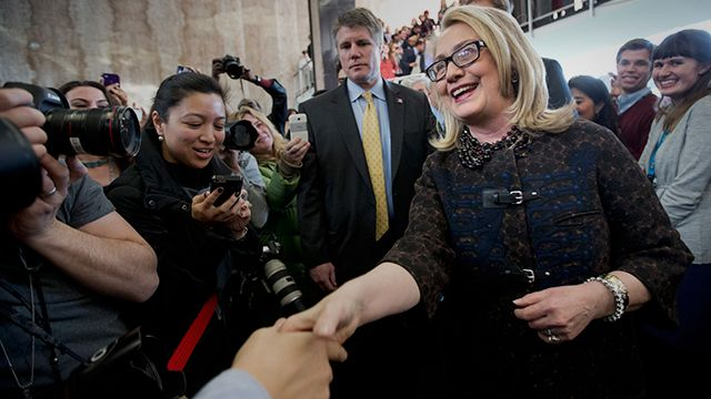 Secretary of State Hillary Rodham Clinton bids farewell to State Department employees at the State Department in Washington, Friday, Feb. 1, 2103, before departing the State Department for the final time as secretary of state. (AP Photo/Manuel Balce Ceneta)