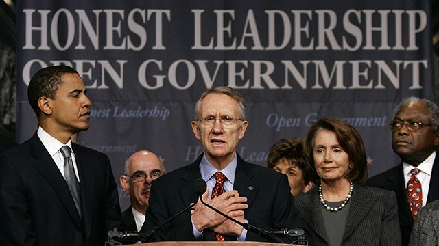 FILE - In this Jan. 18, 2006 file photo, Senate Majority Leader Harry Reid of Nev., center, flanked by then-Sen. Barack Obama, left, and House Speaker Nancy Pelosi of Calif. speaks at the Library of Congress in Washington to outline their agenda for reform in the wake of the scandal involving former lobbyist Jack Abramoff. Few members of Congress are disclosing the fundraising help they get from lobbyists despite a new law that is supposed to make it easy for the public to track campaign connections between lawmakers and the people hired to influence them, an Associated Press review found. From left are: Obama, Rep. Henry Waxman, D-Calif., Reid, Pelosi, and Rep. James E. Clyburn, D-S.C. (AP Photo/J. Scott Applewhite, FILE)