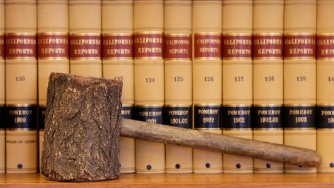 A gavel replica and law books are shown in the office of California Supreme Court Chief Justice Ronald George at his office in San Francisco, Wednesday, July 14, 2010. (AP Photo/Jeff Chiu)
