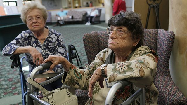 Marie Arrasate, left, and Joan McGarr discuss the Social Security payment during an interview Thursday, Oct. 15, 2009 at the Southwest Focal Senior Center in Pembroke Pines, Fla. There will be no cost-of-living increase for more than 50 million Social Security recipients next year, the first year without a raise since automatic adjustments were adopted in 1975. (AP Photo/J Pat Carter)