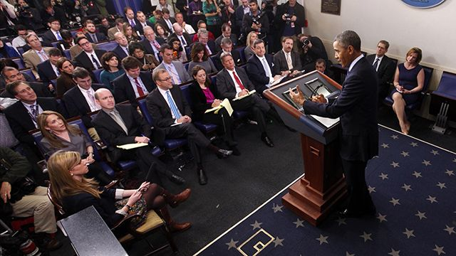 President Barack Obama speaks to reporters in the White House briefing room in Washington, Friday, March 1, 2013, following after meeting with congressional leaders regarding the automatic spending cuts. (AP Photo/Charles Dharapak)