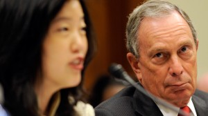 New York City Mayor Michael R. Bloomberg, right, listens as Washington public schools Chancellor Michelle Rhee testifies on Capitol Hill in Washington, Thursday, July 17, 2008, before the House Education and Labor Committee hearing on mayor and superintendent partnerships in education. (AP Photo/Susan Walsh)