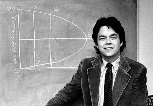 "Dr. Arthur Laffer, Economist and professor at University of Southern California, with ""Laffer Curve"" on blackboard, Feb. 23, 1981. (AP Photo)"