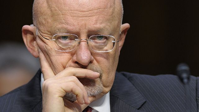 Director of National Intelligence James Clapper listens as he testifies on Capitol Hill in Washington, Tuesday, March 12, 2013, before the Senate Intelligence Committee hearing on worldwide threats. Clapper delivered the U.S. intelligence community's overview of global threats posed by terrorism, cyber attacks, weapons of mass destruction, the months-long civil war in Syria and the unsettled situation in post-Arab Spring nations. (AP Photo/Susan Walsh)