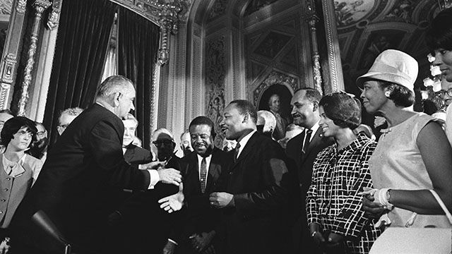 President Lyndon B. Johnson meets with Martin Luther King, Jr. on Aug. 6, 1965 upon signing the Voting Rights Act. Credit: Yoichi R. Okamoto, Lyndon Baines Johnson Library and Museum