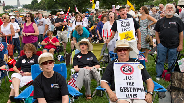 Tea party activists attend a rally on the grounds of the US Capitol in Washington, Wednesday, June 19, 2013. (Photo by J. Scott Applewhite/AP)
