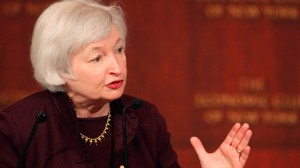 Janet Yellen, vice chairwoman of the Federal Reserve Bank, speaks at the Economic Club of New York in 2011. (Photo by Mark Lennihan/AP)
