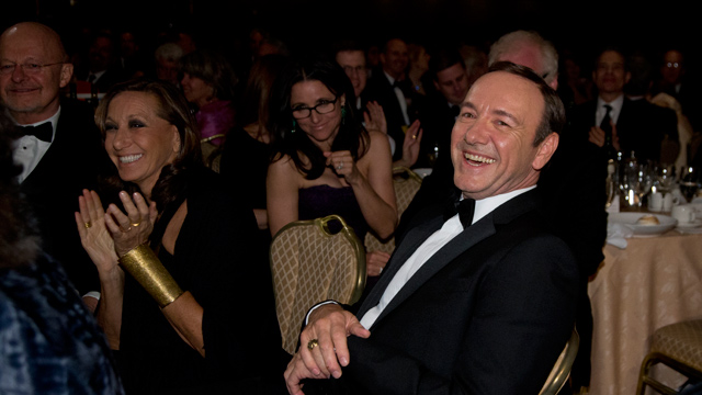 Actor Kevin Spacey, star of <em>House of Cards</em> laughs during the White House Correspondents' Association Dinner at the Washington Hilton Hotel, Saturday, April 27, 2013, in Washington. Julia Louis-Dreyfus of <em>Veep</em> is in the background. (AP Photo/Carolyn Kaster)
