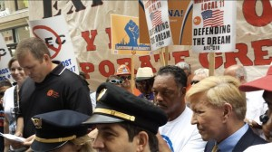 Rev. Jesse Jackson was among the crowd protesting in Chicago yesterday at the American Legislative Exchange Council conference. (Twitter / @RevJJackson)
