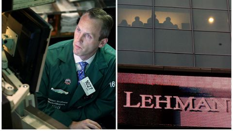 This combination of Associated Press file photos shows, left, Patrick Kenny a Specialist of Lehman Brothers working his post on the trading floor of the New York Stock Exchange on Monday, Sept. 15, 2008, and right, the Lehman Brothers headquarters Monday, Sept. 15, 2008 in New York. (AP Photo)