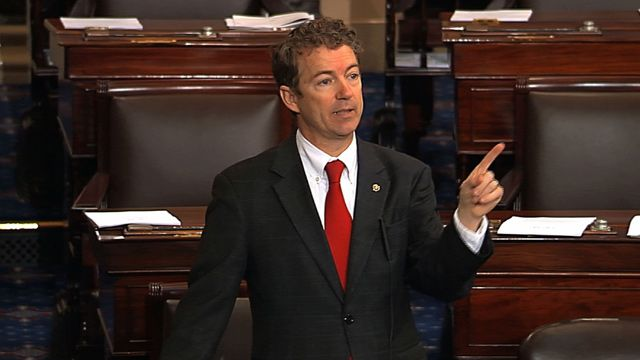 This video frame grab provided by Senate Television shows Sen. Rand Paul, R-Ky. speaking on the floor of the Senate on Capitol Hill in Washington, Wednesday, March 6, 2013. Senate Democrats pushed Wednesday for speedy confirmation of John Brennan's nomination to be CIA director but ran into a snag after a Paul began a lengthy speech over the legality of potential drone strikes on U.S. soil.