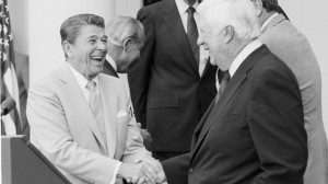 President Ronald Reagan greets House Speaker Thomas P. O'Neill Jr. of Massachusetts at the conclusion of a session in the Rose Garden of the White House, Aug. 19, 1982. (AP Photo/Ira Schwarz)