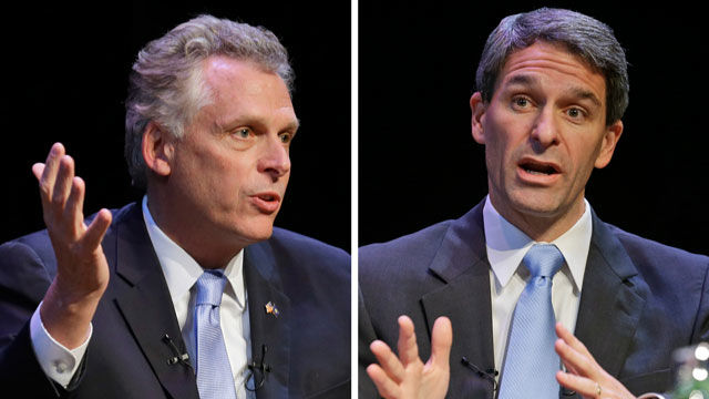 Virginia candidates for governor, Democrat Terry McAuliffe (left) and Republican Ken Cuccinelli (right), talk during a forum at the University of Richmond in Richmond, Va., prior to the November election. (AP Photo/Steve Helber, File)