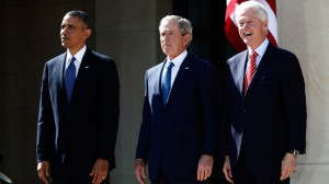 President Barack Obama stands with, from second from left, former Presidents George W. Bush and Bill Clinton at the dedication of the George W. Bush presidential library on the campus of Southern Methodist University in Dallas, Thursday, April 25, 2013. (AP Photo/Charles Dharapak)