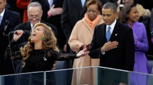 Beyonce sings the national anthem at the ceremonial swearing-in at the U.S. Capitol during the 57th Presidential Inauguration in Washington. (AP Photo/Carolyn Kaster, file)